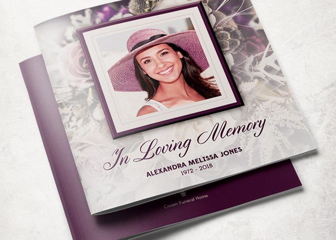 purple rose funeral program-template